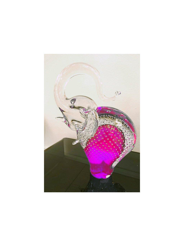 Skleněný slon velký růžový bublina