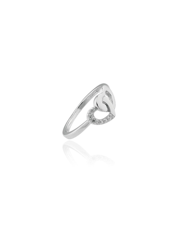 SVLR0181XE9BI57Stříbrný prsten Spojená Srdce se zirkony