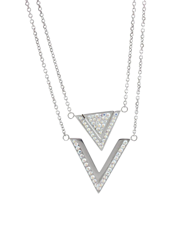 J61300477AB Ocelový náhrdelník Triple s kameny Swarovski® Aurore Boreale