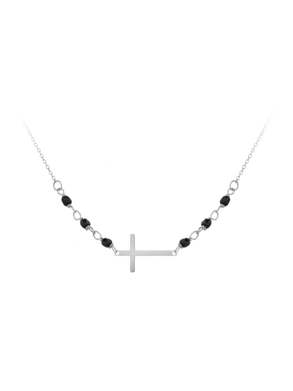 SVLB0171XH2ON17Stříbrný náramek Křížek ležící s Onyxem