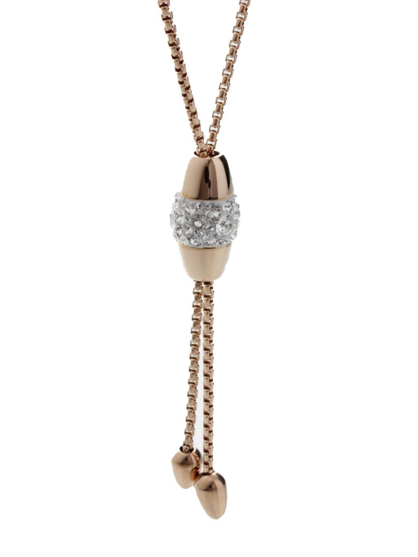 Ocelový náhrdelník Oválek posuvný s kameny Swarovski® Rose Gold
