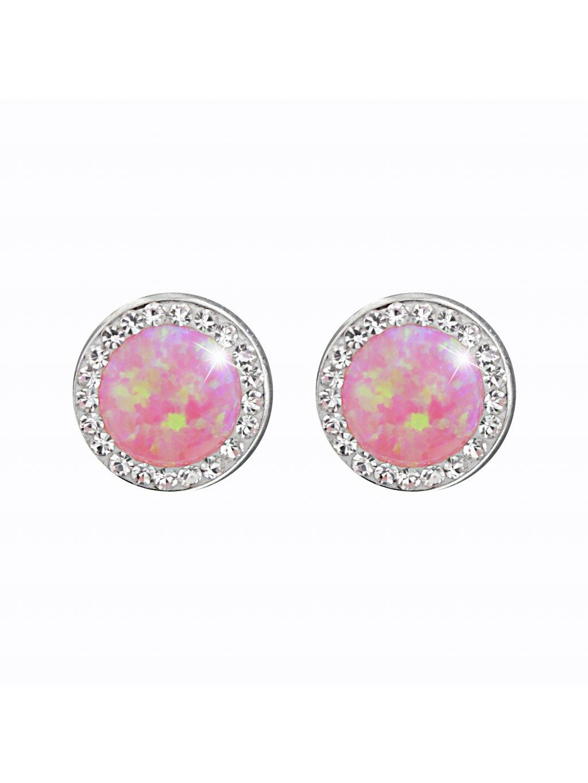 J61400933roOcelové náušnice Opál round rosa