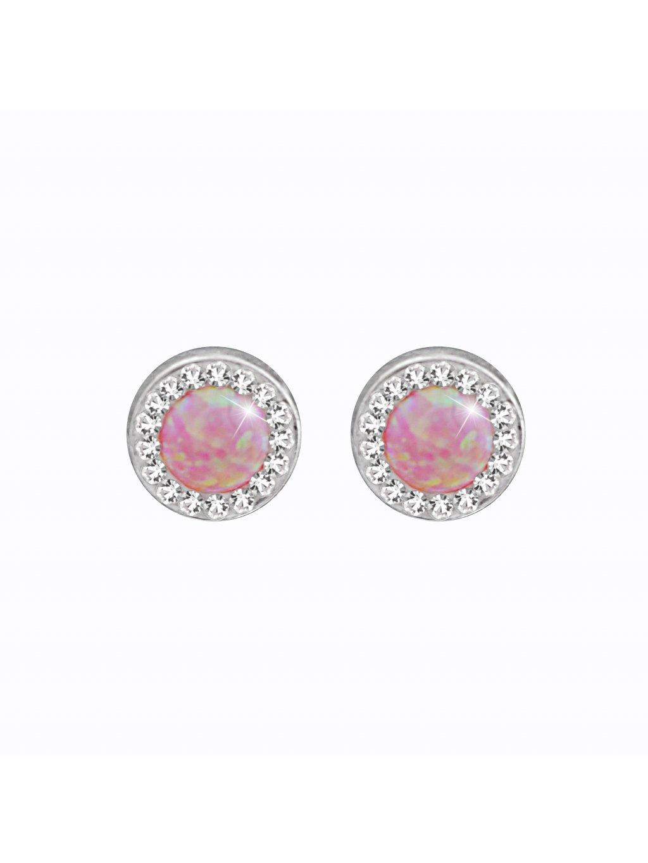 J61400934roOcelové náušnice Opál round rosa I