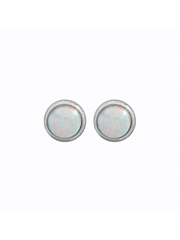 J61400935whOcelové náušnice Opál round white II
