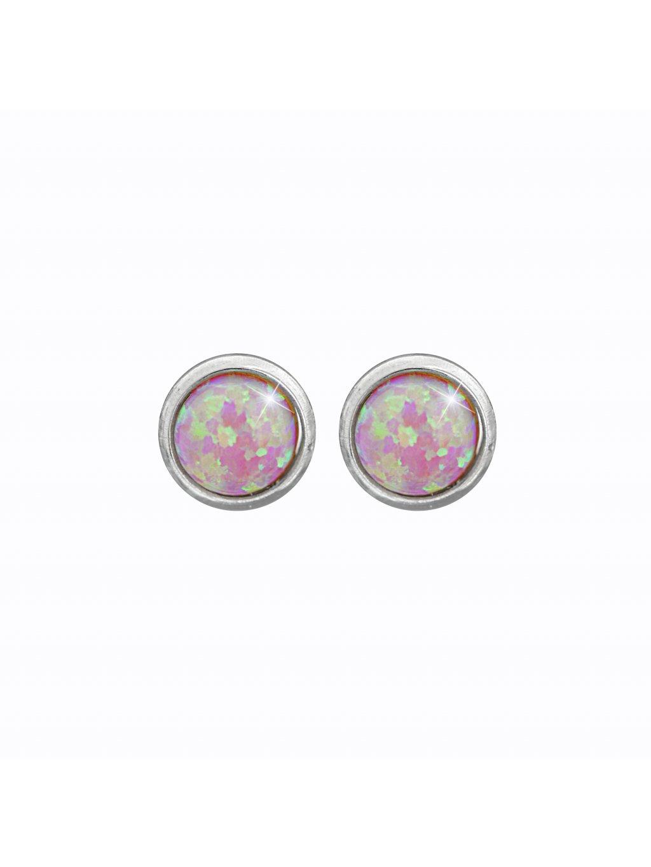 J61400935roOcelové náušnice Opál round rosa II