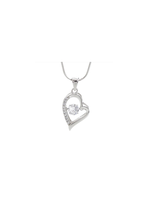 J92300231crStříbrný náhrdelník Srdce s tančícím kamenem