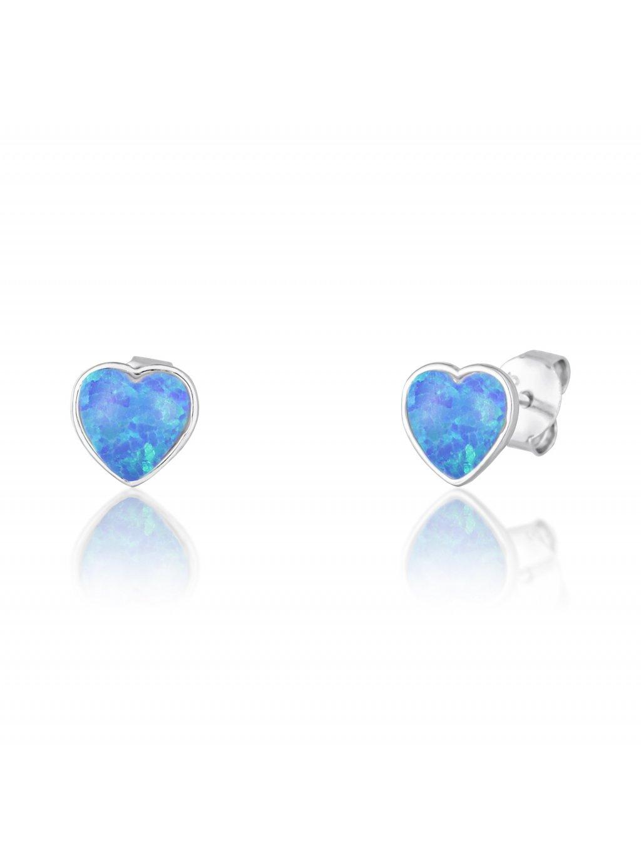 svle1013xf6o300Stříbrné náušnice Opálové srdíčko blue