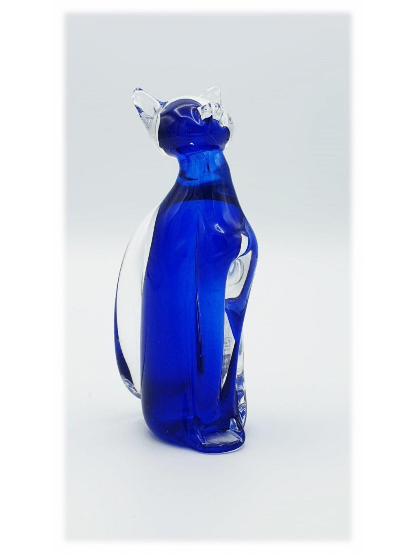 Skleněná kočka malá modrá
