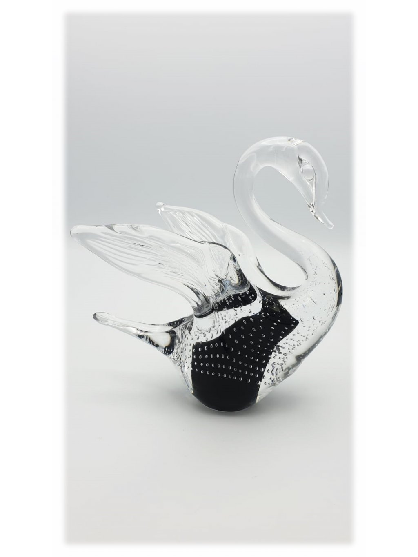 Skleněná labuť malá černá s bublinkami