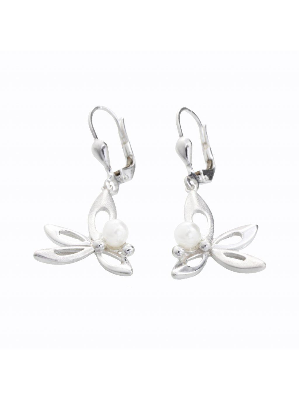 Stříbrné náušnice Motýlek s perlou Swarovski® components