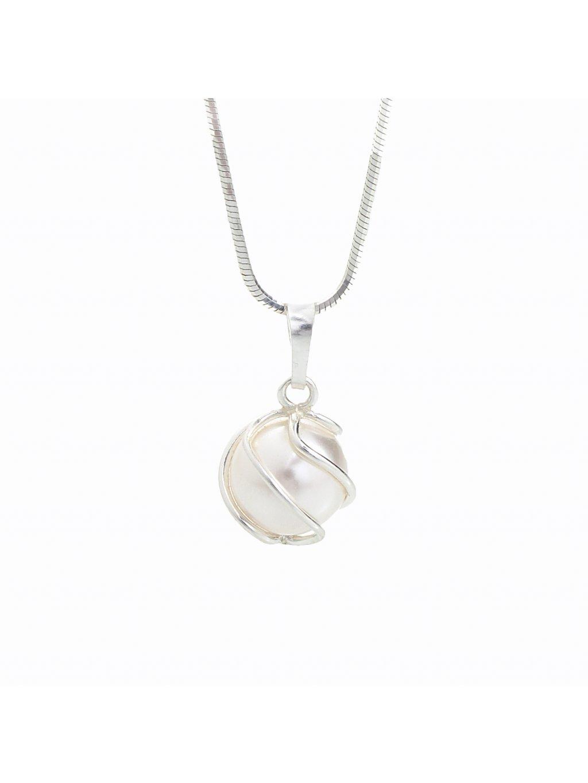 Stříbrný řetízek s přívěskem Omotaná perla Swarovski® components