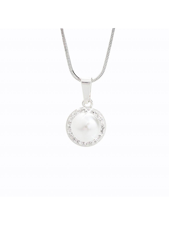 J91300005CR Stříbrný náhrdelník Perla s kameny Swarovski® components