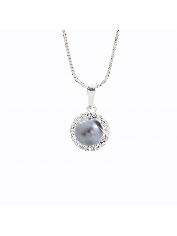 J91300005GREY Stříbrný náhrdelník Perla s kameny Swarovski® components