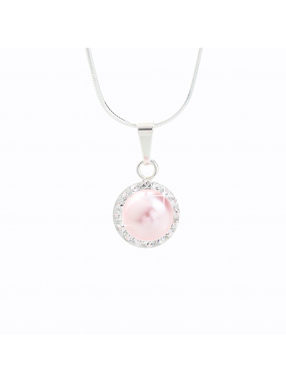J91300005ROSA Stříbrný náhrdelník Perla s kameny Swarovski® components
