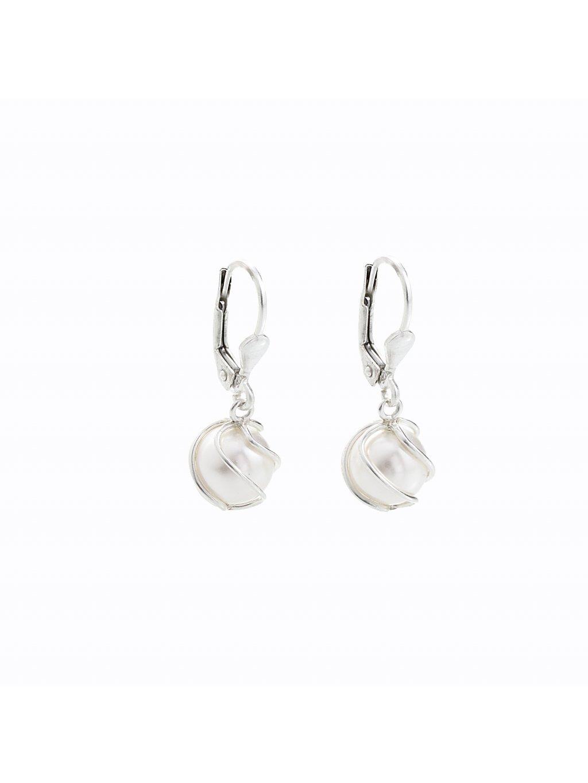 Stříbrné náušnice s perlou Swarovski® components I.