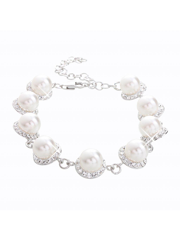 Stříbrný náramek s perlami a křišťálky Swarovski® components I.