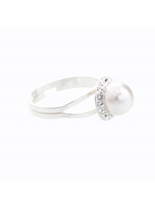 Stříbrný prsten s perlou a křišťálky Swarovski® components I.