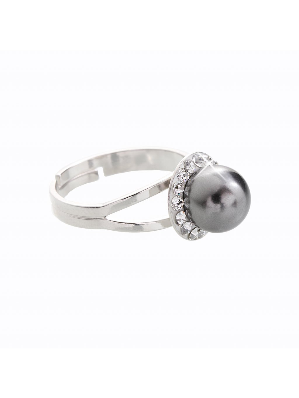 J91700005STEEL Stříbrný prsten s perlou a křišťálky Swarovski® components I.