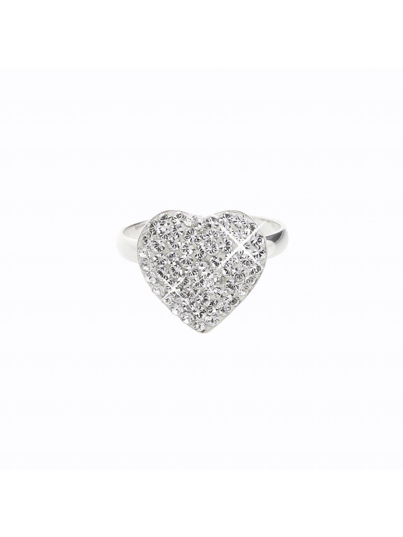 J91700663CR Stříbrný prsten Srdce I. Swarovski® components