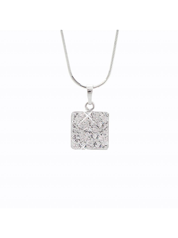 J92300021CR Náhrdelník stříbrný Square II. Swarovski® components