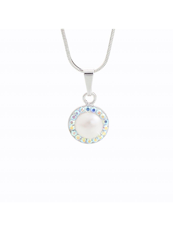 Stříbrný řetízek s perlou a křišťálky Swarovski® components I.
