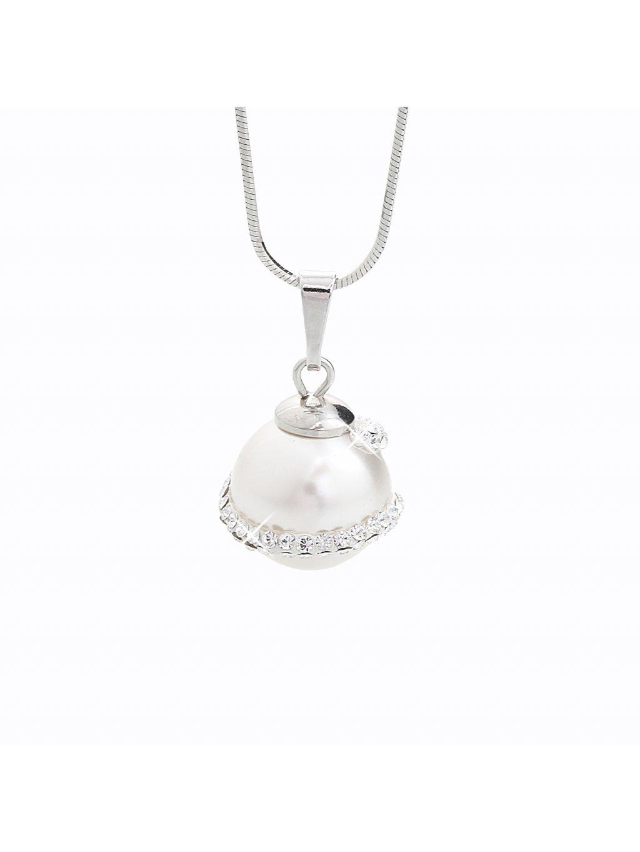 J92300024CR Stříbrný náhrdelník s perlou a křišťálky Swarovski® components I.