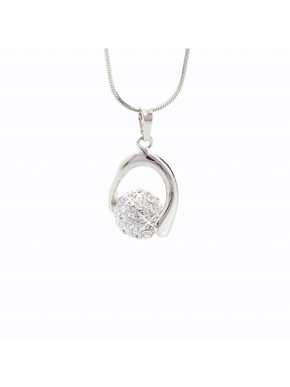 J92300028CR Stříbrný náhrdelník s kuličkou a křišťálky Swarovski® components I.