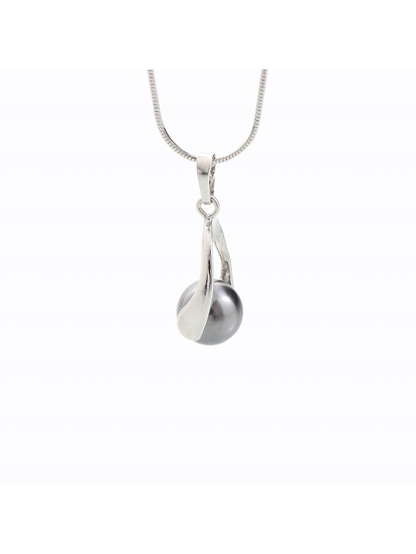 Stříbrný řetízek s perlou Swarovski® components I.