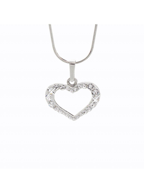 Stříbrný řetízek s přívěskem Srdce X. Swarovski® components