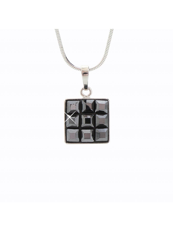 Stříbrný řetízek s přívěskem Swarovski® components Square V.