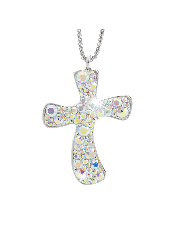 Náhrdelník Velký kříž s kameny Swarovski® Crystal AB 61300294ab