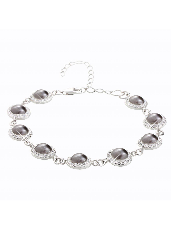 Stříbrný náramek s půl perlemi a křišťálky Swarovski® components II.