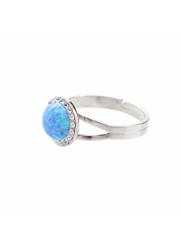 J92700025AQ Stříbrný prsten s opálem a křišťálky Swarovski® components Opal Round I.