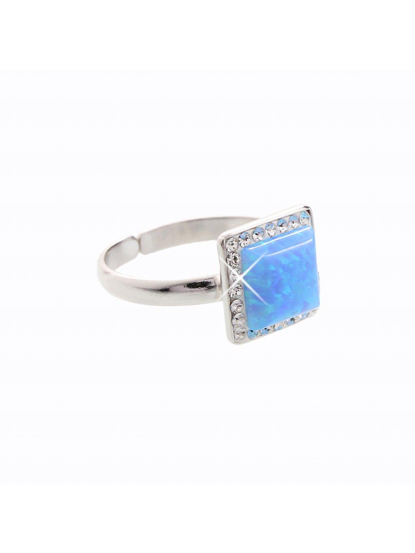 Stříbrný prsten s opálem a křišťálky Swarovski® components Opal Round I.