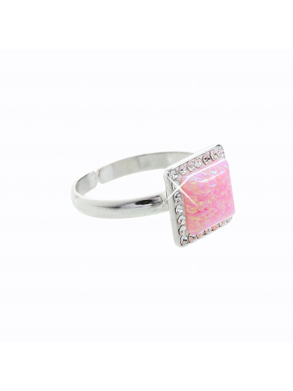 Stříbrný prsten s opálem a křišťálky Swarovski® components Opal Square I.