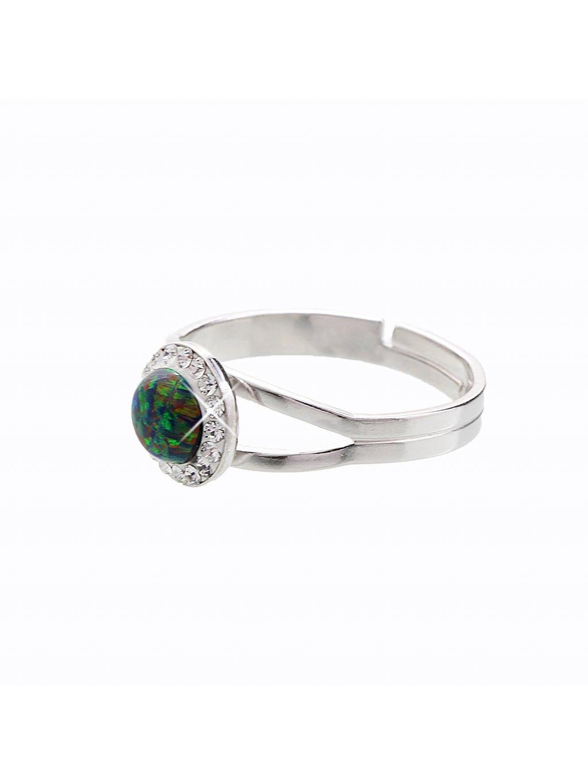 Stříbrný prsten s opálem a křišťálky Swarovski® components Opal Round II.