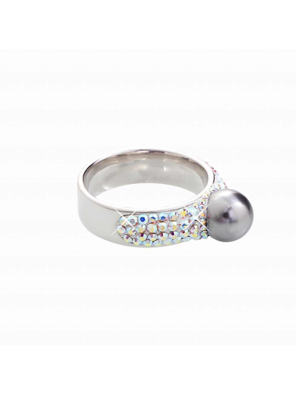 J92700080AB Stříbrný prstýnek s perlou a kamínky Swarovski® components