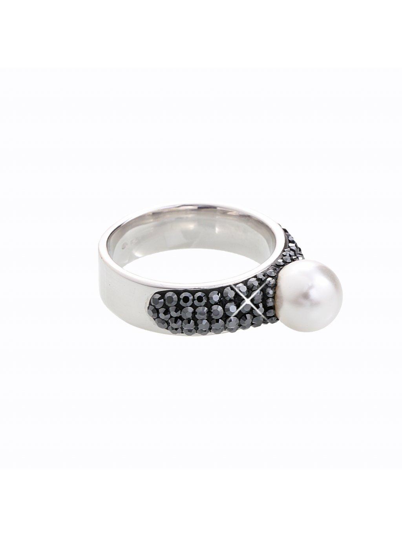J92700080JET Stříbrný prstýnek s perlou a kamínky Swarovski® components