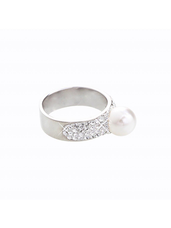 J92700080WH-CR Stříbrný prstýnek s perlou a kamínky Swarovski® components