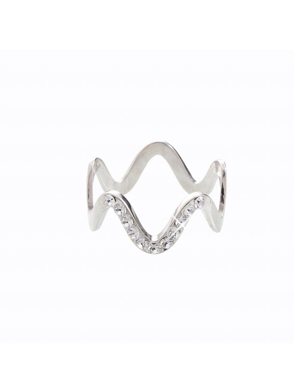 J92700101CR Stříbrný prsten Vlna I. Swarovski® components