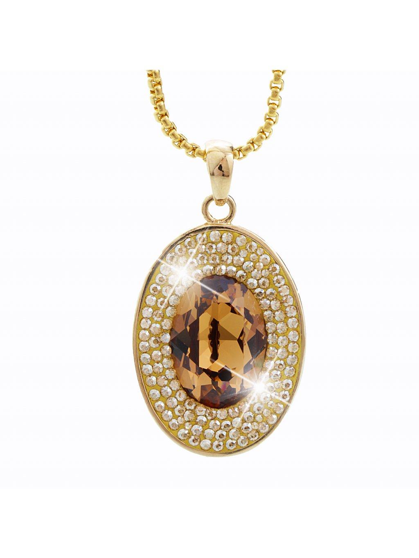 Náhrdelník Ovál s kameny Swarovski® Gold