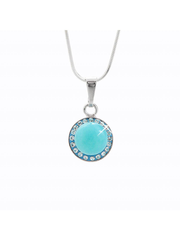 92300148aq Stříbrný náhrdelník s opálem a křišťálky Swarovski® components Opal Round III.