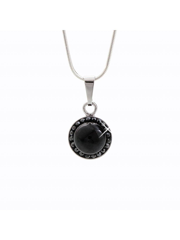 92300148jet Stříbrný náhrdelník s opálem a křišťálky Swarovski® components Opal Round III.