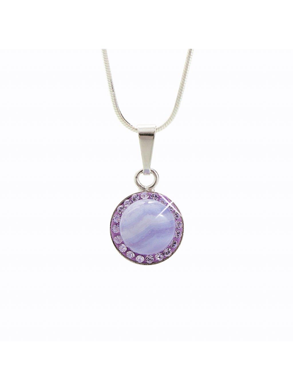 92300148op Stříbrný náhrdelník s opálem a křišťálky Swarovski® components Opal Round III.