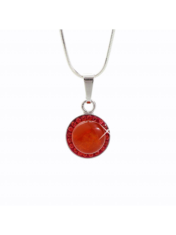 92300148siStříbrný náhrdelník s opálem a křišťálky Swarovski® components Opal Round III.