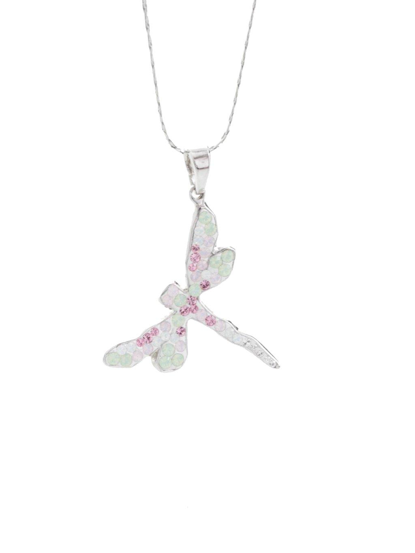 Náhrdelník Vážka s křišťálky Swarovski® Rose water opal