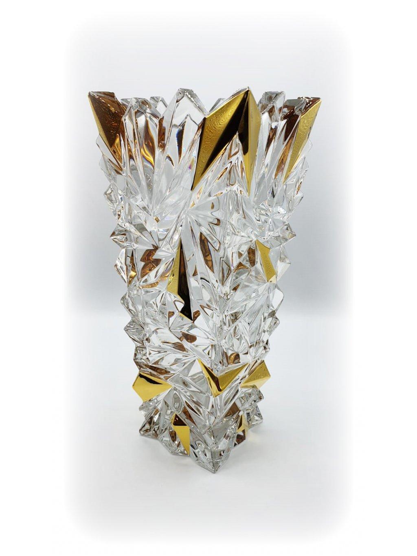 30026 Křišťálová váza Glacier s pozlacením