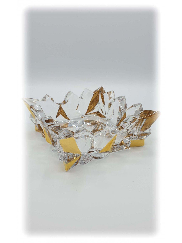 3777 skleneny popelnik glacier s pozlacenim stredni