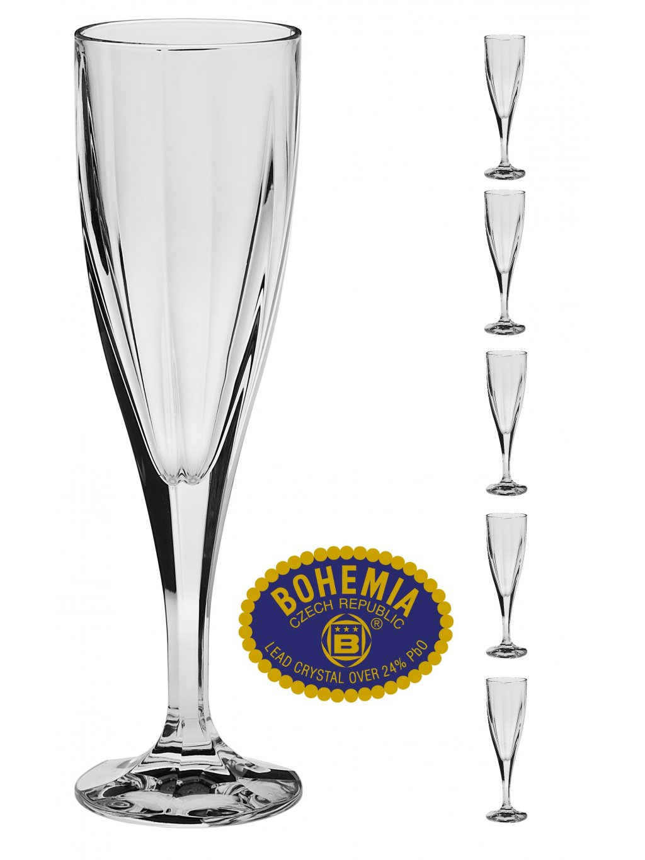 Křišťálové skleničky na sekt 180ml  Bohemia Crystal, 6ks