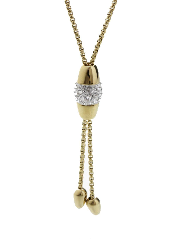 J61300478G Náhrdelník Oválek posuvný s kameny Swarovski® Gold